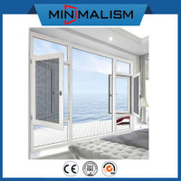 White Modern Aluminium Frame Metal Glass Casement Top Sale Window